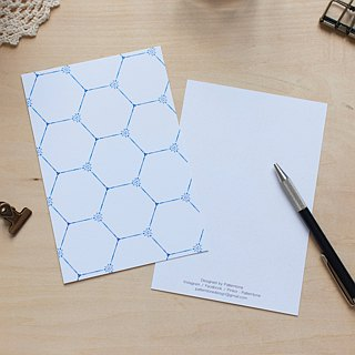 Hexagon blue and white pattern postcard