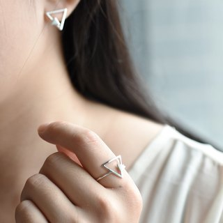 Nude - triangle double geometry (925 sterling silver ring) - C percent jewelry