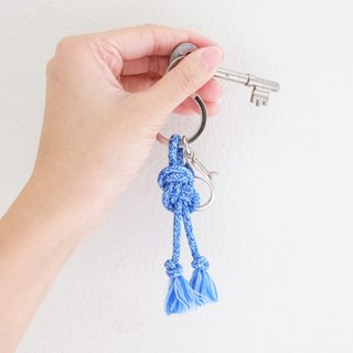 Infinity knot rope in blue keychain