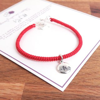 Lettering Lover Birds Love Letters 925 Sterling Silver Customized Rope Bracelet - Red