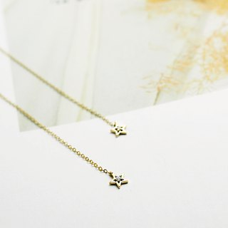【PurpleMay Jewellery】18k Yellow Gold Binary Star Diamond Drop Earring E015