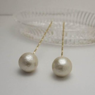 twist cotton pearl earrings (L) 【FP218】