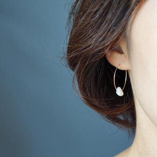 【14KGF】 14kgf freshwater pearl hoop earrings