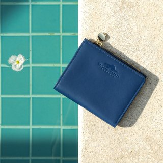 (LIMITED) PEONY - SMALL LEATHER SHORT WALLET WITH COIN PURSE- DEEP BLUE