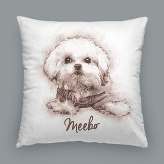 Customized figure, pet portrait pillow / cushion (sketch style)
