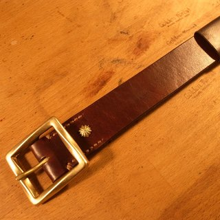 Golden Forest handmade leather original leather classic brown wide belt