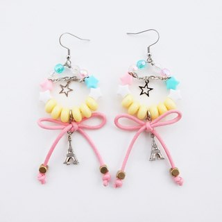 Bead hoop earrings with pink bow and Eiffel charm