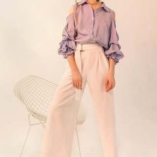 White breathable high waist wide leg trousers plus belt