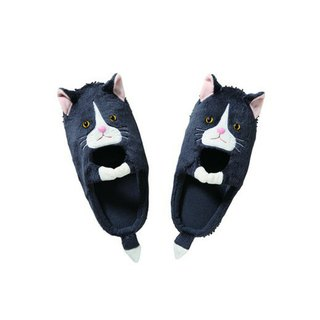 Japan Magnets super cute animal series mop mopping home indoor slippers (black cat models)