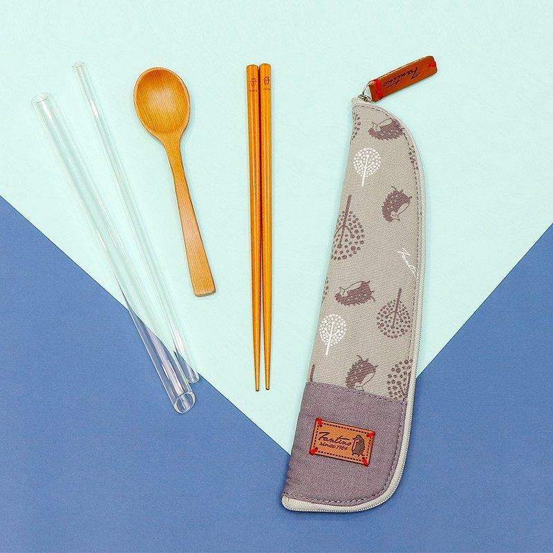 獨創布花 棉麻餐具袋::月球灰:: (叢林躲貓貓)環保餐具/減塑/防疫/交換禮物