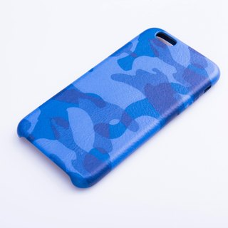 AOORTI :: Apple iPhone 6s/6s Plus Handcrafted Leather Coat Case/Mobile Phone Case - Blue Camo