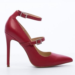 Saint Landry [French] bicyclic design high-heeled shoes - red wine