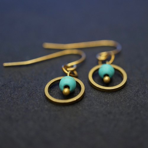 ITS-208 [Earrings Series, Turquoise] Exquisite Brass Earrings