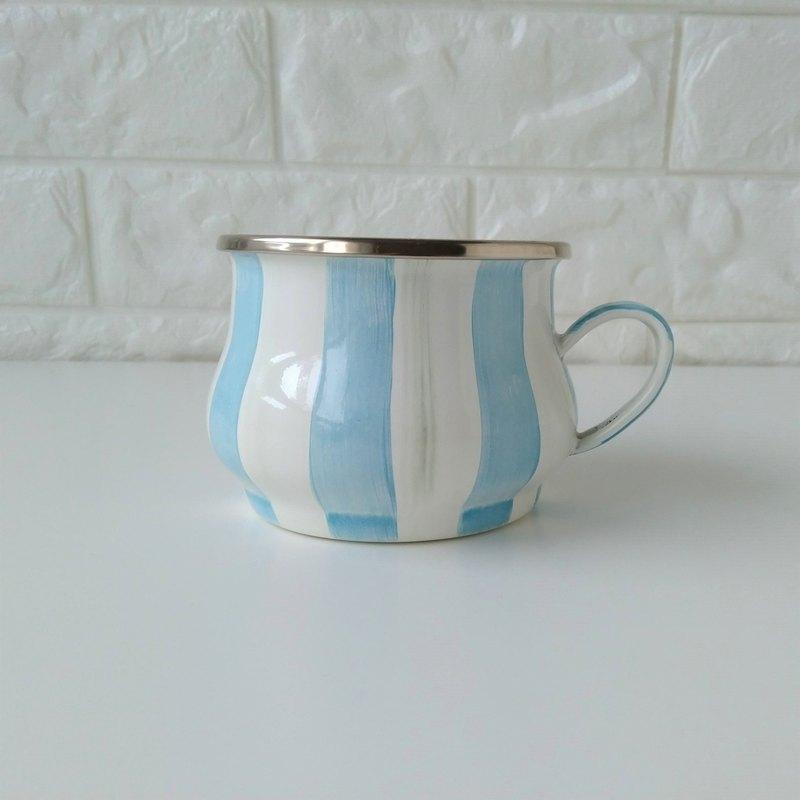 天空藍條紋彩繪琺瑯茶杯 附手作禮物包裝