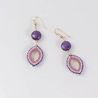 Amethyst stone marquise earrings, 14K gold filled, 389