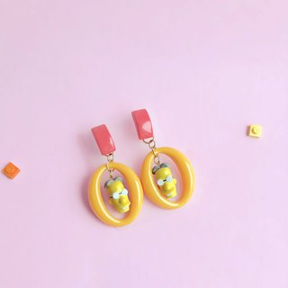 simpsons Emoji LEGO Silver  Earring Yellow Ear Clips