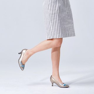 [Shimmering] embroidered pointed heel (tin)
