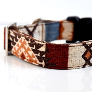 Southwestern Dog Collar - Brown, blue, orange