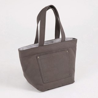 Outside paste pocket tote bag - gray iron
