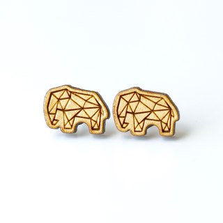 Plain wood earrings-Geometric elephant