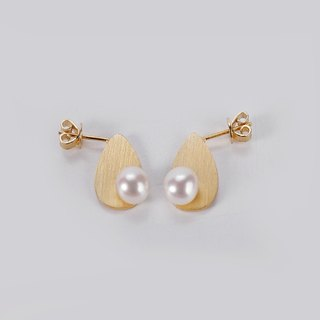 JIYI teardrop-shaped earrings earrings sterling silver side pong freshwater pearl inlay gilt
