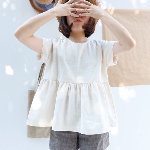 Helen Top~short sleeves : Cream