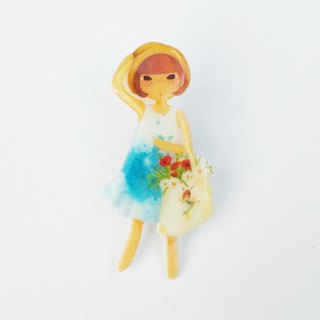Small Q Series Handmade Products - Girl in Flower Original Illustration Girl / Pin Brooch Preserved in Spring Breeze Gift