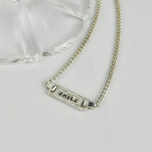 Personalized Small Tag,Stamped Monogram & Name Necklace, Sterling Silver