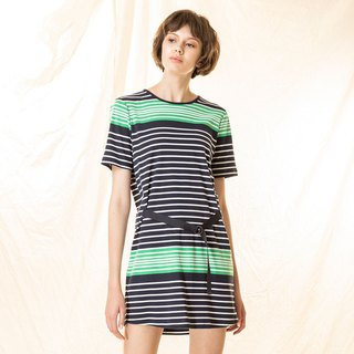Contrast striped belt slim dress