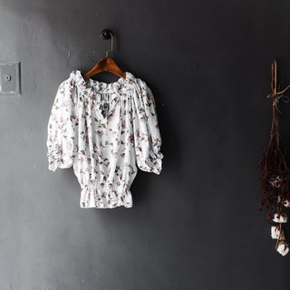 Heshui Mountain - Shizuoka Water Blue Petals Curly Floral Antique Spinning Shirt Top shirt oversize vintage