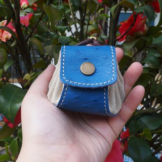 Dumplings - leather purse / small bag / jewelry bag - blue