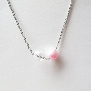 Rosy Garden glass ball with pink pearl necklace