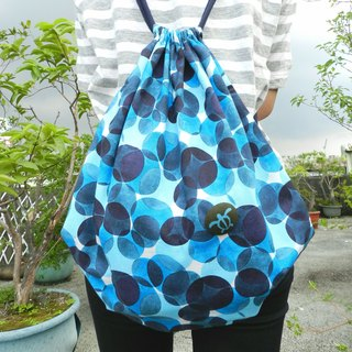 Bubble Ocean Japan imported cotton cloth (zipper outer bag design) ~ beam mouth backpack / bundle pocket