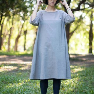 Gray cotton dress - winter landscape of birds as well as squirrels