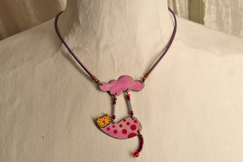 Jewelry, Necklace, Enamel, Cat, Pendant, Cat Necklace, Cat Pendant, Cloud, Cat Jevelry, Cloud Necklace, Cat Shaped Necklace, Cloud Shaped Necklace, Polka Dots,