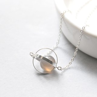 armei 銀環。灰瑪瑙。溫柔星球。宇宙 項鍊 Sliver Ring。Agate Gray 。Tender Planet。Galaxy Necklace