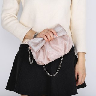 Champagne Color Organza with Nylon Mesh Ribbon Bow Evening Bag / Clutch Bag