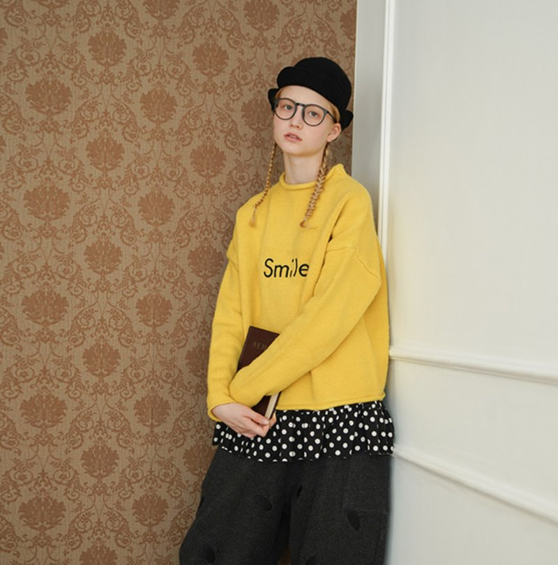 Smile yellow long sleeve sweater - imakokoni