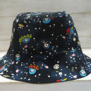 Panda Spaceman & Blue Black Two-sided Fisherman Hat Sun Hat