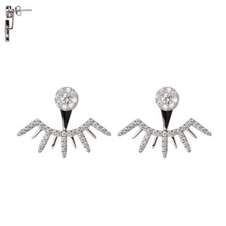 Silver Needle Double Diamond Firestone Earrings