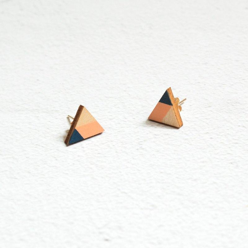 耳環 耳釘 耳夾 木制 鍍金 幾何 手工繪制 三角形 手作 飾物 禮物