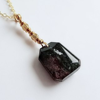 Gemstones Dark Water Grass Natural Ore Green Ghost Brass . Necklace