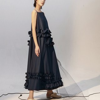 Oversized Ruffle Camisole Maxi Dress