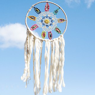 Hand-woven cotton and linen rainbow dream catcher dream Cather / handmade lace dream catcher - wool felt