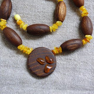 New Wood Oak Beads & Baltic Amber Hand Made Fair Trade Folk Art Unisex Necklace Size 23 in or 58.4 cm