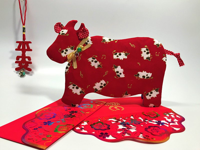 Fantasy【燙金棉布】牛轉乾坤紅包袋~乳牛布