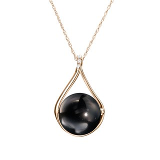 Obsidian Necklace with Diamonds, 14k Gold Jet Black Protection Gemstone Pendant