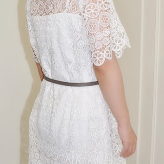 Flat 135 X Taiwanese designer circle cotton hollow lace fabric short-sleeved dress two-piece