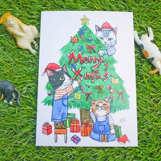 Christmas card cat tree xmas