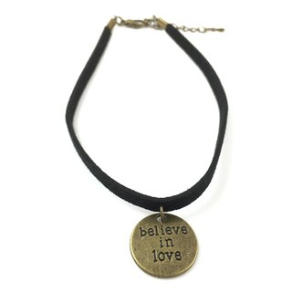 Bronze medallion Believe in Love Necklace